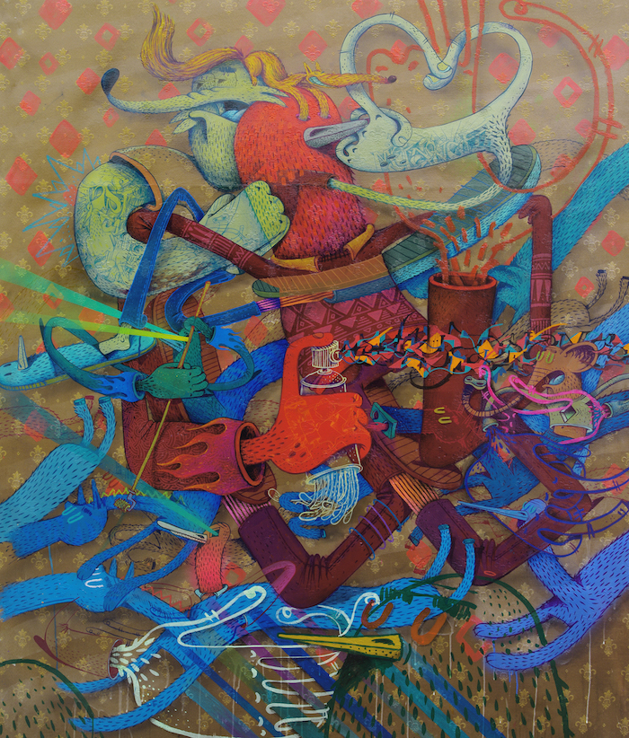 Alëxone Dizac, Mêche ma gueule, 2016, 126 x 160 cm, acrylique and technique mixte on fabrics Kopie